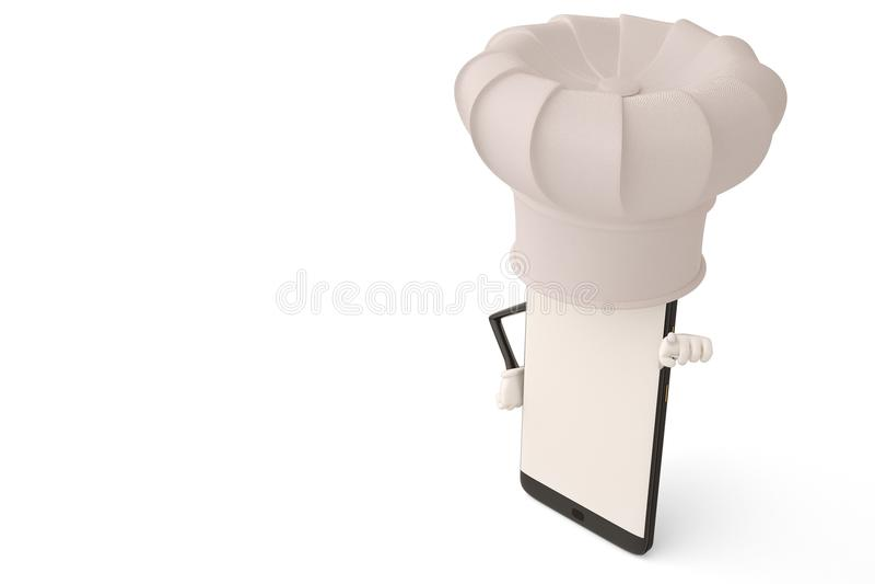 Postać z kreskówki smartphone kucharz ilustracja 3 d ilustracja wektor