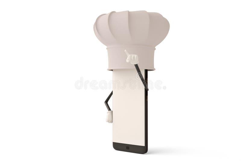 Postać z kreskówki smartphone kucharz ilustracja 3 d royalty ilustracja