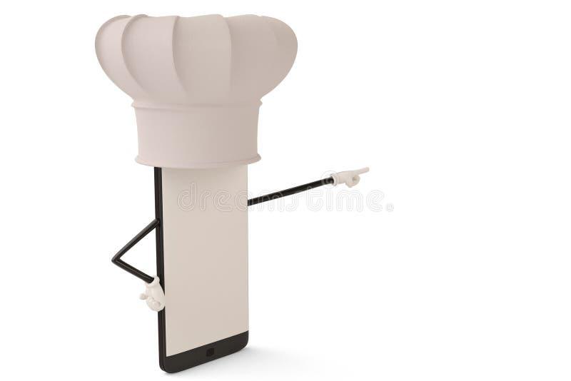 Postać z kreskówki smartphone kucharz ilustracja 3 d ilustracji