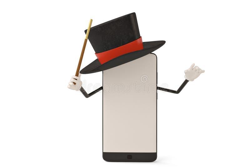 Postać z kreskówki smartphone magik ilustracja 3 d royalty ilustracja