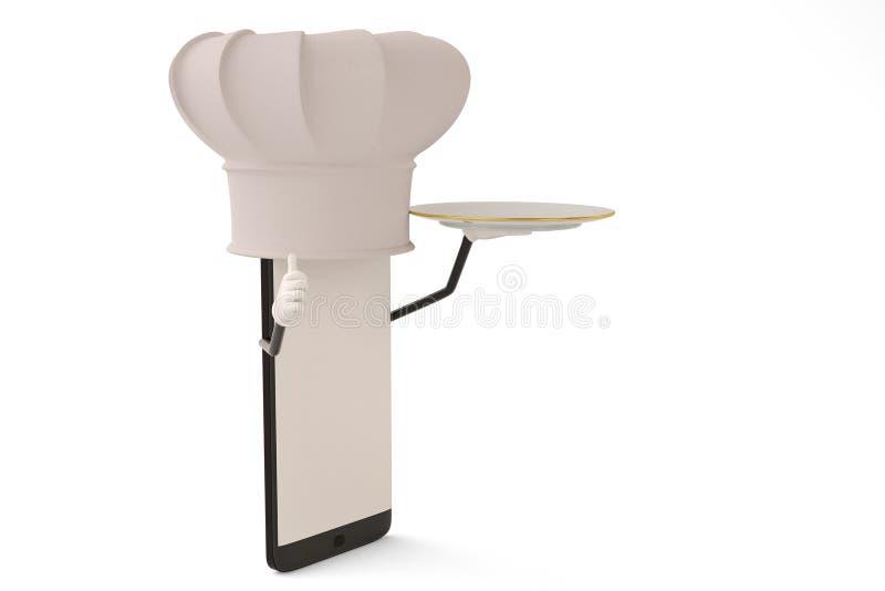 Postać z kreskówki smartphone naczynie i kucharz ilustracja 3 d ilustracja wektor