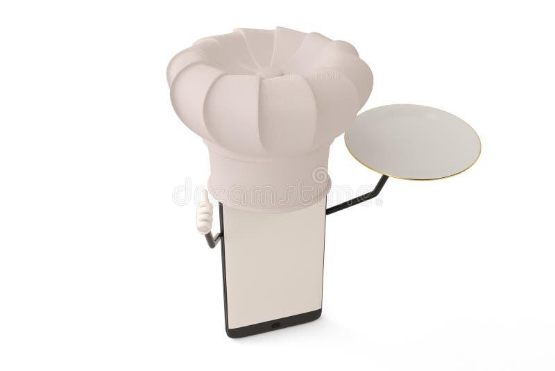 Postać z kreskówki smartphone naczynie i kucharz ilustracja 3 d ilustracji