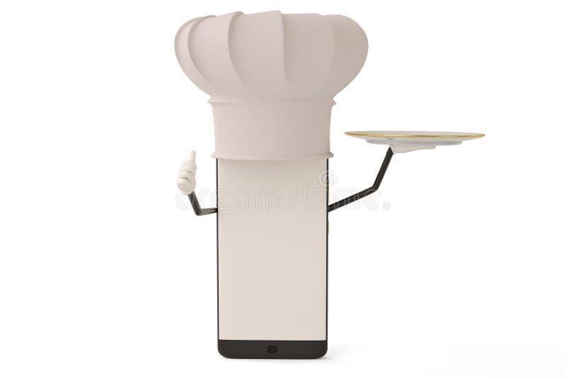 Postać z kreskówki smartphone naczynie i kucharz ilustracja 3 d royalty ilustracja