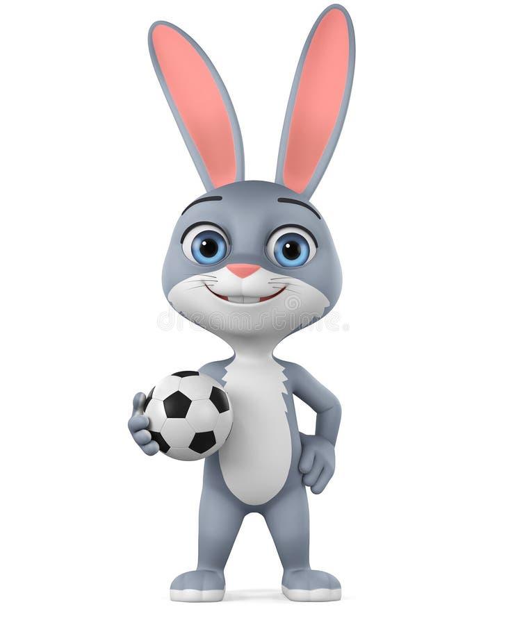 Postać z kreskówki szary królik piłki nożnej piłką na białym tle ?wiadczenia 3 d reklamowa ilustracyjna sprzeda? ilustracja wektor