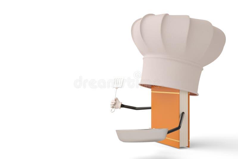 Postać z kreskówki szefa kuchni książka na białym tle ilustracja 3 d royalty ilustracja