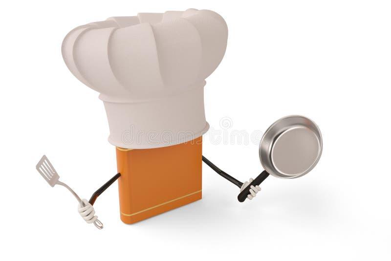 Postać z kreskówki szefa kuchni książka na białym tle ilustracja 3 d ilustracji