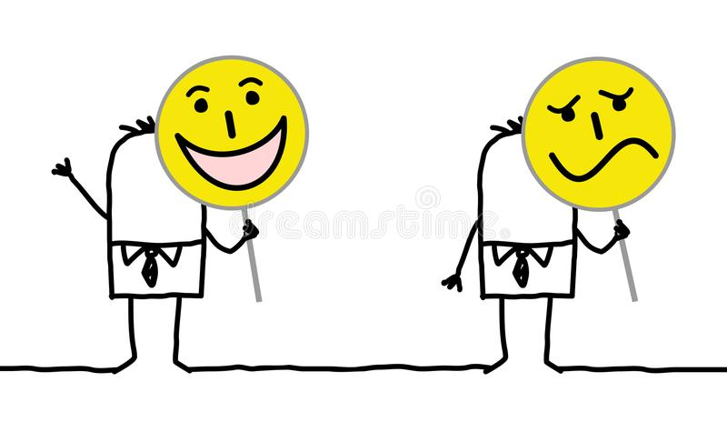 Postać Z Kreskówki Trzyma Emoticon znaki ilustracji