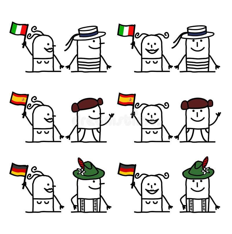 Postać Z Kreskówki Ustawiają 2 - kraje i tradycja ilustracji