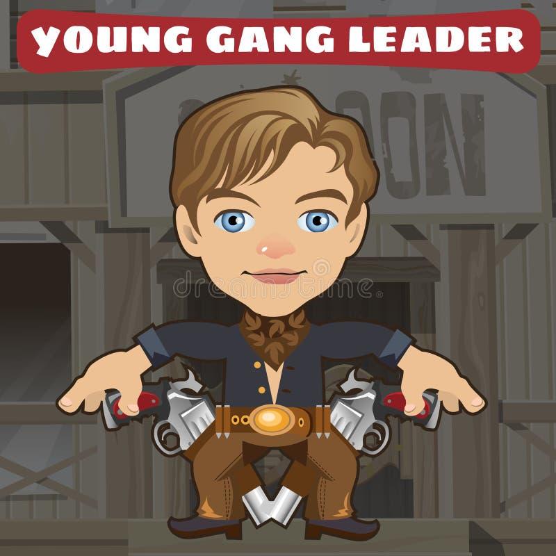 Postać z kreskówki w Dzikim zachodzie - młody gangu lider ilustracja wektor