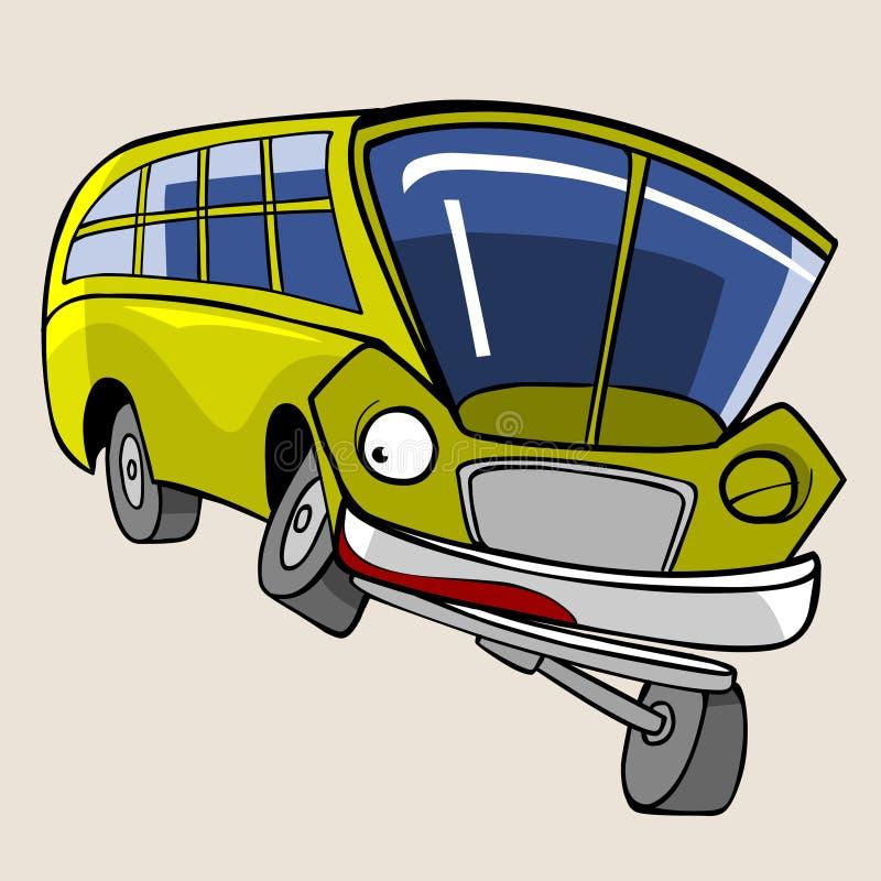 Postać z kreskówki zabawy żółci autobusowi mrugnięcia ilustracji