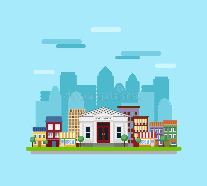 Posta byggnad på bakgrunden av staden royaltyfri illustrationer