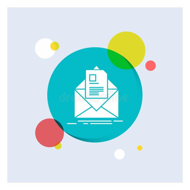 posta, contratto, lettera, email, fondo variopinto del cerchio dell'icona bianca di glifo di istruzione illustrazione vettoriale
