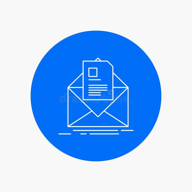 posta, contratto, lettera, email, linea bianca icona di istruzione nel fondo del cerchio Illustrazione dell'icona di vettore royalty illustrazione gratis