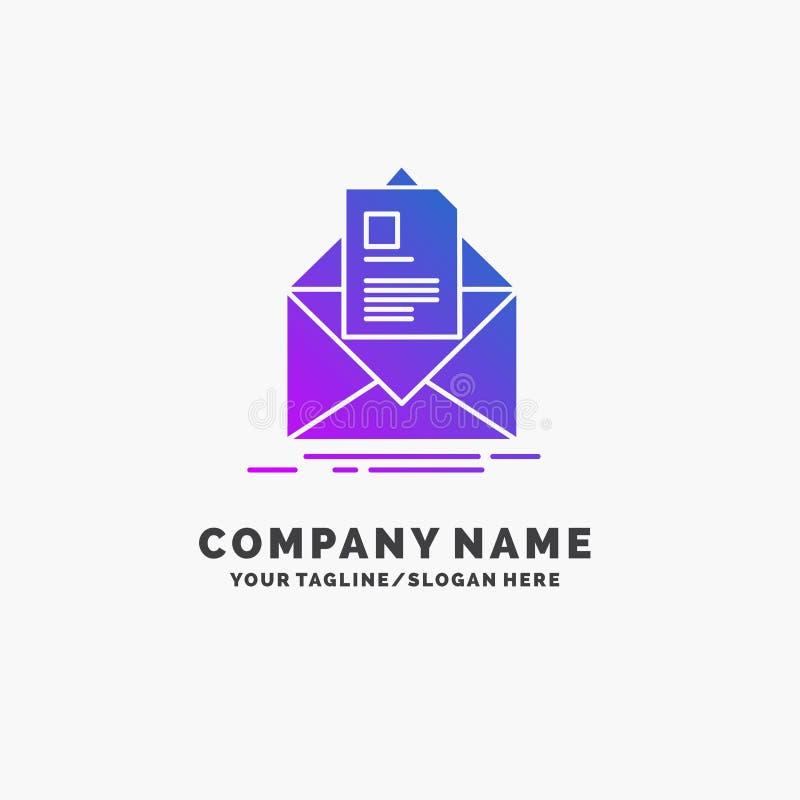 posta, contratto, lettera, email, riassumente affare porpora Logo Template Posto per il Tagline illustrazione vettoriale