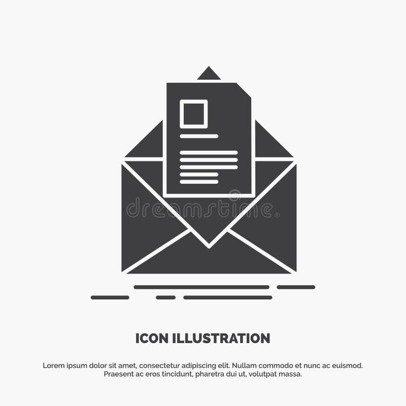 posta, contratto, lettera, email, riassumente icona simbolo grigio di vettore di glifo per UI e UX, sito Web o applicazione mobil illustrazione vettoriale