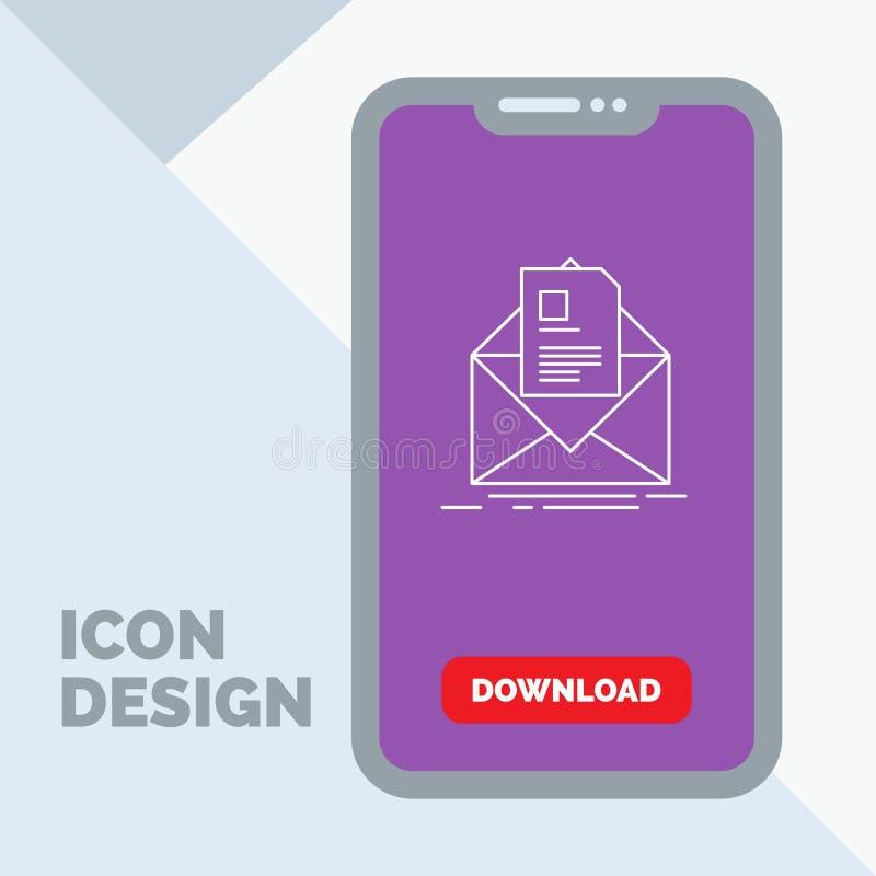 posta, contratto, lettera, email, riassumente linea icona in cellulare per la pagina di download illustrazione vettoriale