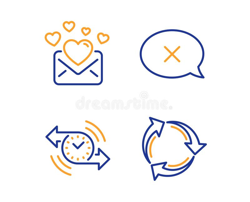 Posta di amore, insieme delle icone del temporizzatore e di scarto Ricicli il segno Lettera dei biglietti di S. Valentino, messag illustrazione di stock