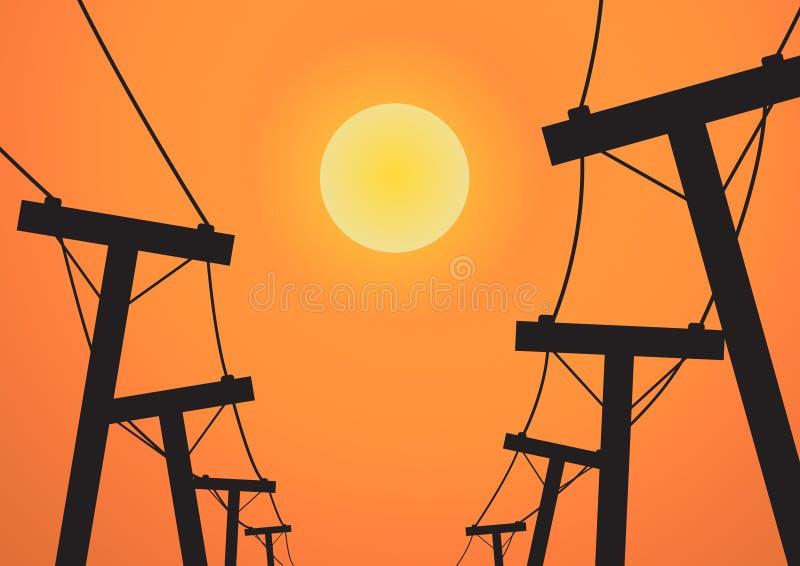 Download Posta Di Elettricità Della Siluetta Prima Del Tramonto Illustrazione Vettoriale - Illustrazione di luce, energia: 56876678
