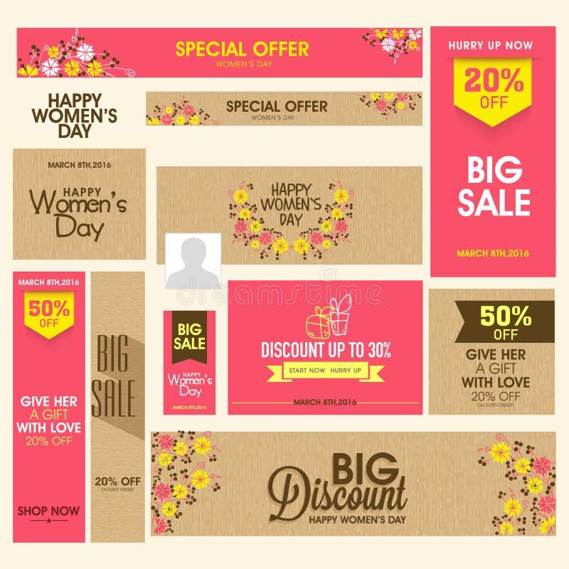 Posta ed intestazione sociali di media di vendita per il giorno delle donne illustrazione di stock