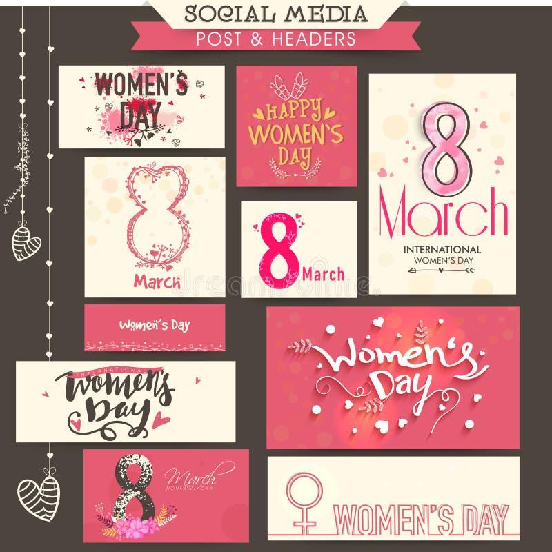 Posta ed intestazione sociali di media per il giorno delle donne illustrazione vettoriale