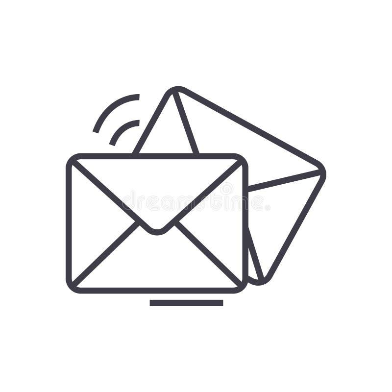 Posta, email, linea icona, segno, illustrazione di vettore della busta su fondo, colpi editabili illustrazione vettoriale