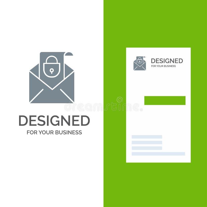 Posta, email, messaggio, sicurezza Grey Logo Design e modello del biglietto da visita illustrazione vettoriale