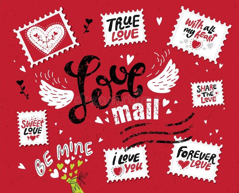 Posta messa di amore, iscrizione disegnata a mano illustrazione di stock