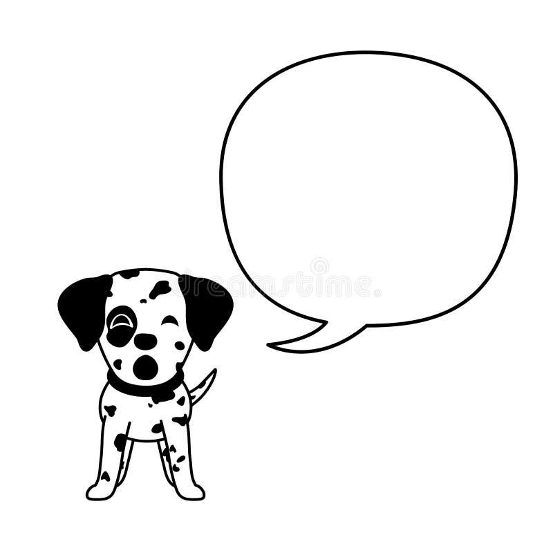 Posta? z kresk?wki dalmatian mowy i psa b?bel ilustracja wektor