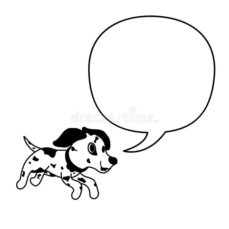 Posta? z kresk?wki dalmatian pies i bia?a mowa gulgoczemy royalty ilustracja