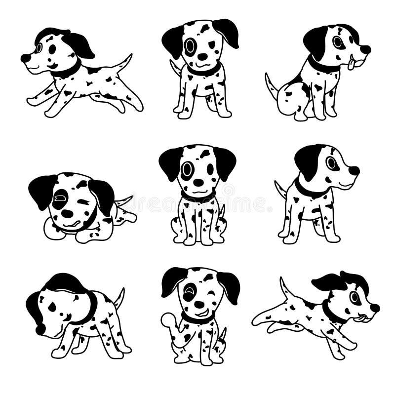 Posta? z kresk?wki dalmatian psa pozy royalty ilustracja