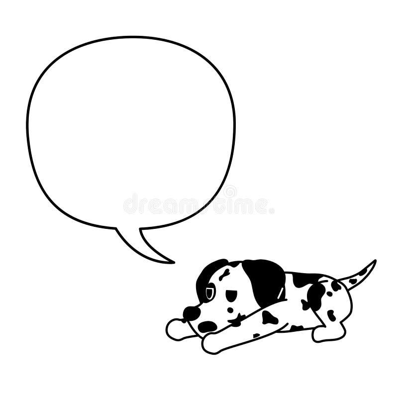 Posta? z kresk?wki dalmatian psi i bia?y mowa b?bel royalty ilustracja