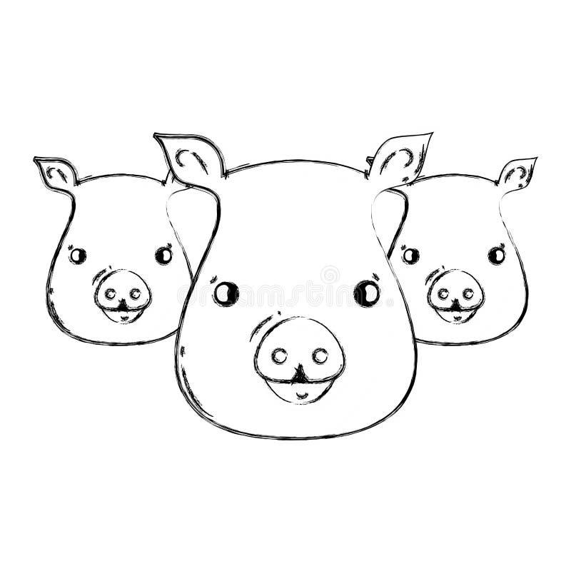 Postaci świni głów wilds śliczni zwierzęta royalty ilustracja