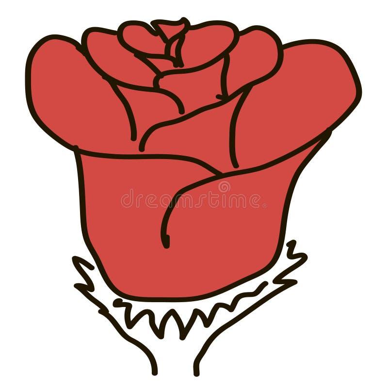 Postaci czerwieni róża na białym tle ilustracji