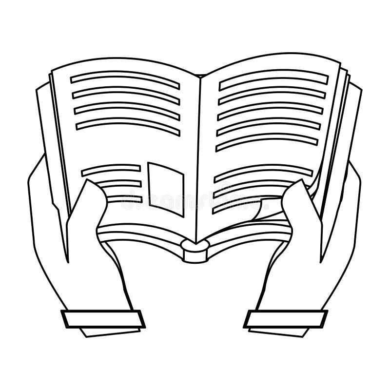 Postaci książka w kolor skóry rękach ilustracji