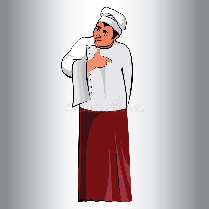 Postaci samiec, zajęcie kucharz kuchnia, kucharz w fartuchu ilustracja wektor