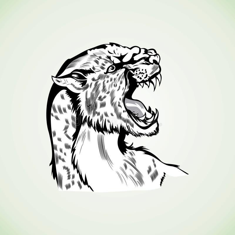 Postaci tygrysiej pantery dziki agresywny wzór royalty ilustracja