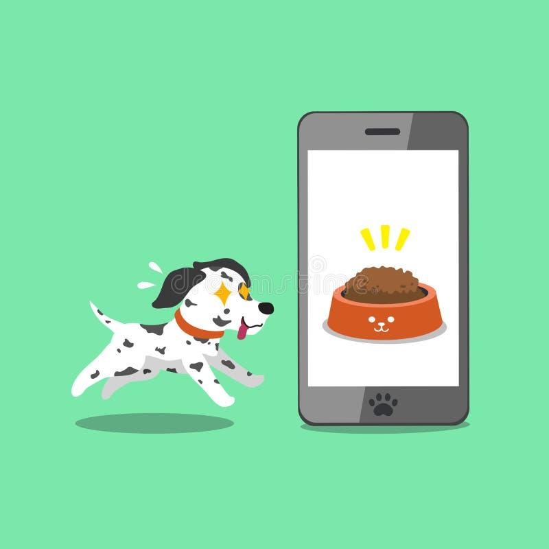 Postaci z kreskówki dalmatian śliczny pies i smartphone ilustracji