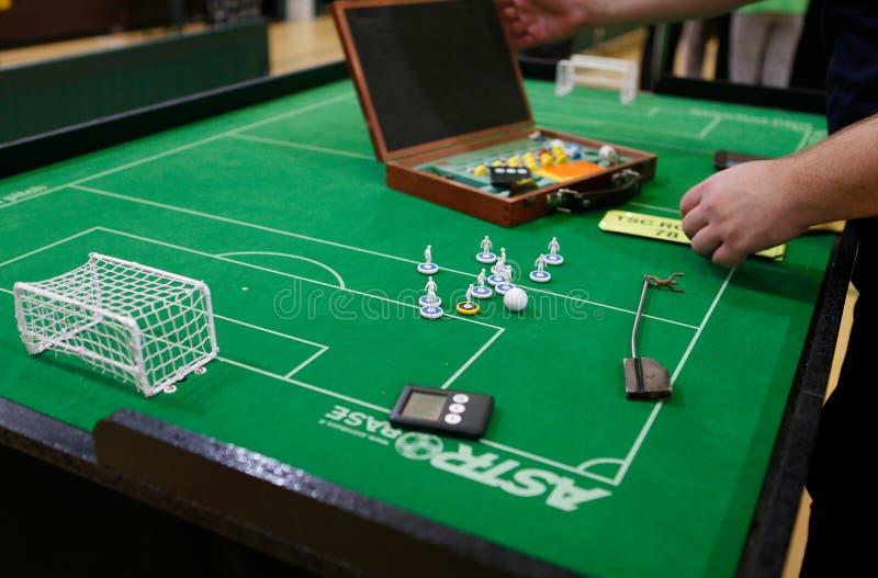 Postacie bawić się podczas Stołowej piłki nożnej meczu finałowego światowego szczegółu zdjęcie stock