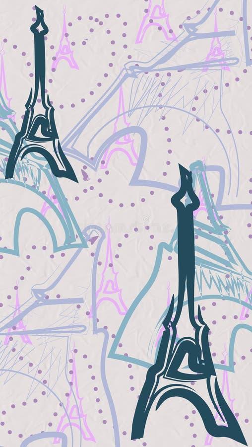 Postacie i sylwetki wieża eifla z liniami punkty ilustracja wektor
