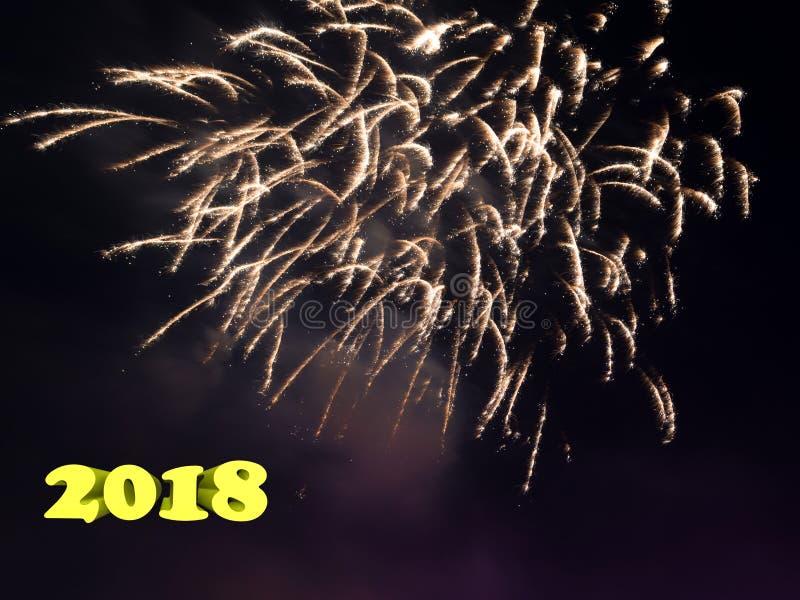 Postacie 2018 na tle thea świąteczny salut obrazy stock