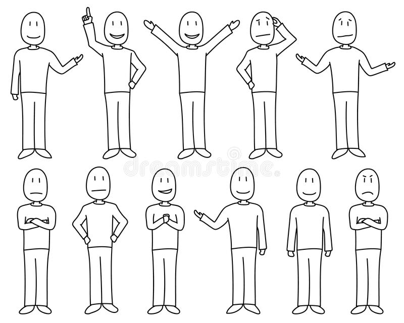 Postacie w pozach pokazuje różnorodnych nastroje i emocje w ręka rysującym stylu, samiec set royalty ilustracja