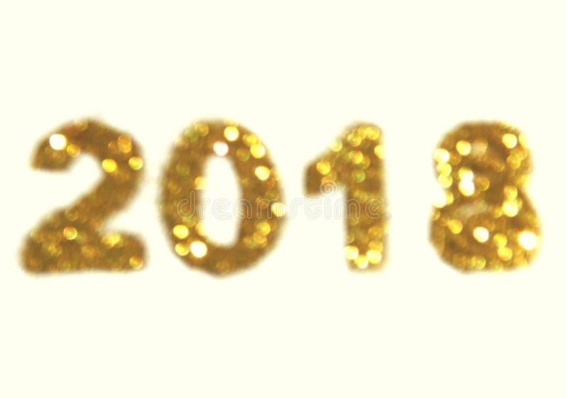 Postacie 2018 złota błyskotliwość na białym tle, symbol nowy rok, ikona zdjęcia stock