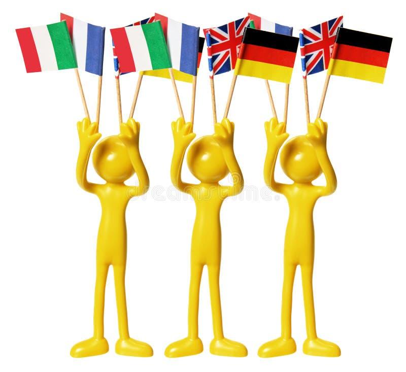 Postacie z Europejskimi Flaga obraz stock
