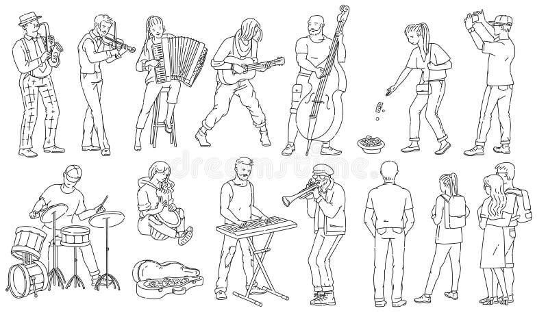Postacie z muzyków ulicznych, ilustracje wektorowe ukazujące bazgranie wyizolowane ilustracja wektor