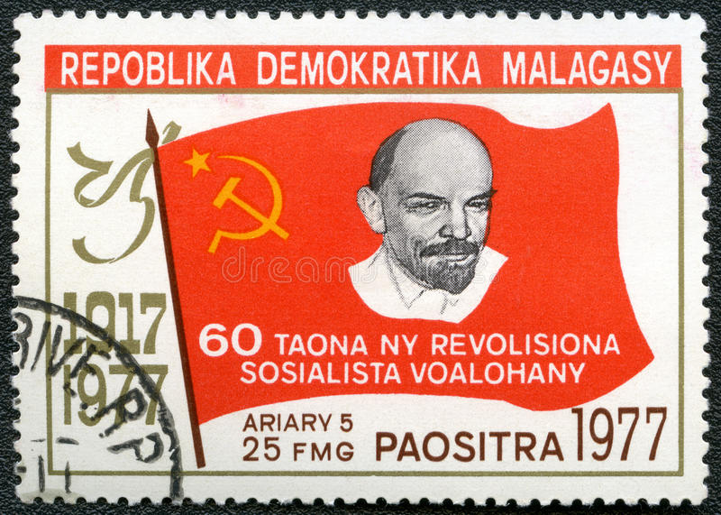 Postage stam devoted 60 years October revolution royalty free stock photos
