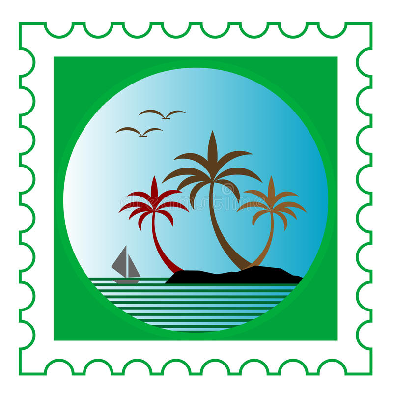 Postage stamp. With beautiful holiday scene stock illustration