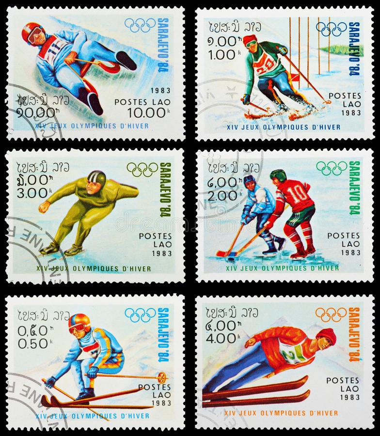 Postage stamp. LAOS - CIRCA 1983: A set of postage stamps printed in LAOS shows Winter Olympic Games Sarajevo-1984, series, circa 1983 stock photos