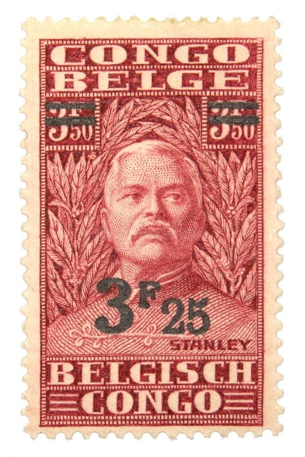 Postage Stamp. Belgian Congo postage stamp on white background stock image