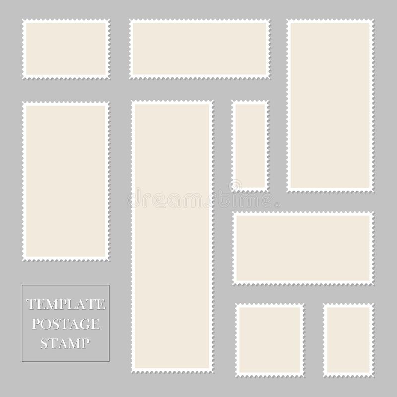 Postage stamp blank with perforated border. Paper postcard of square shape. Template mail postage for post delivery envelope,. Paper mark. Mockup post stamp vector illustration
