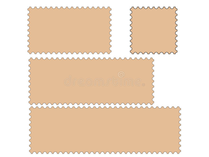 Postage stamp borders collection stock illustration
